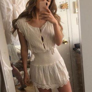 Loveshackfancy lace smocked white mini dress